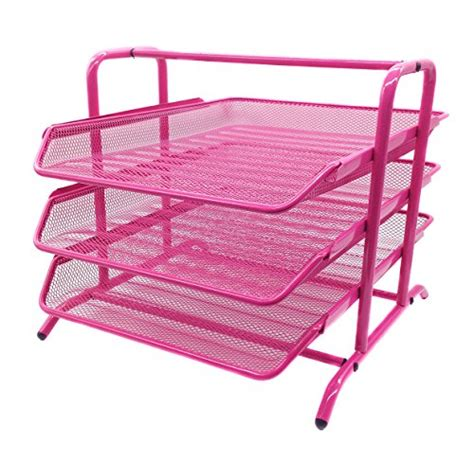 Easypag 3 Tier Mesh Desk Organizer Tray File Holder Pink Pink Desk Organizers