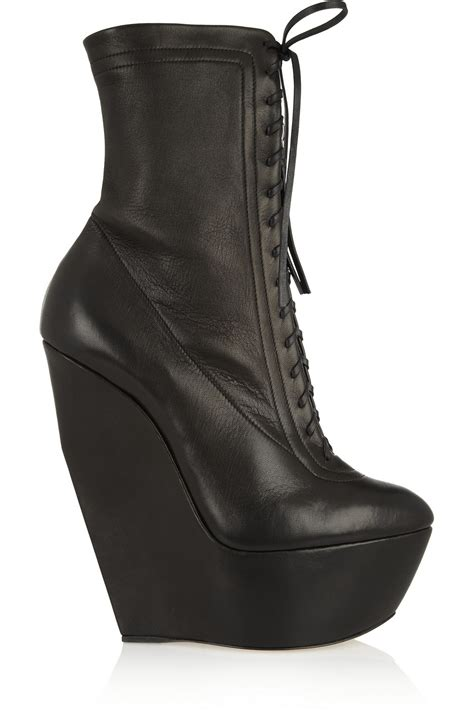wedge boots casadei leather platform wedge boots in black lyst