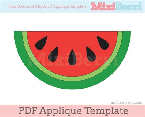 watermelon template watermelon slice applique template pdf instant