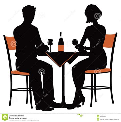 dinner silhouette romantic dinner for two stock vector illustration of