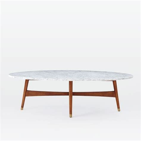 oval marble top coffee table reeve mid century oval coffee table marble top west elm