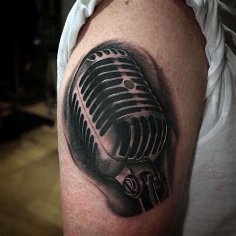 microphone realistic tattoo 3d realistic looking black and white microphone tattoo