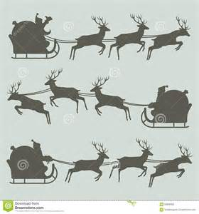 santa sleigh and reindeer silhouette silhouettes of santa claus on his sleigh stock vector