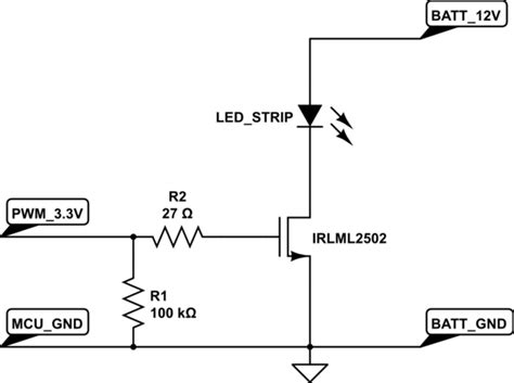 transistor led driver circuit mosfet driving led from microcontroller electrical engineering stack exchange