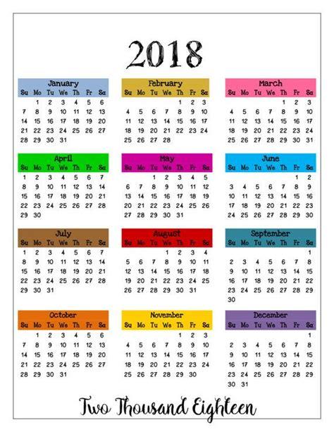 Calendrier 2018 Printable 2018 Printable Color Calendar 2018 Wall Calendar Year
