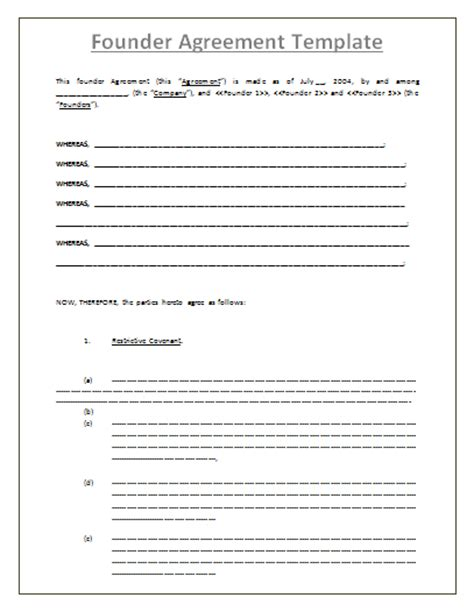 founder s agreement template by agreementstemplates org