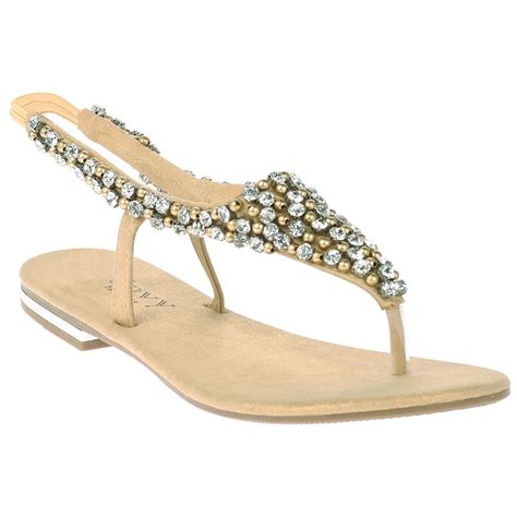 womens flats diamante low heels evening dress formal