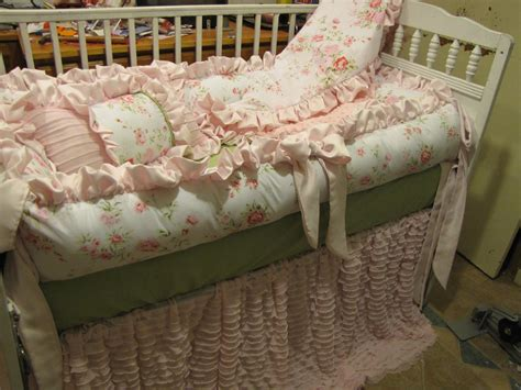 Custom Crib Set Pinks And Grey But Shabby Chic Style 6pc For Shabby Chic Crib Bedding Sets