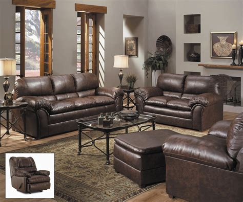 Leather Living Room Set | geneva classic brown bonded leather living room furniture
