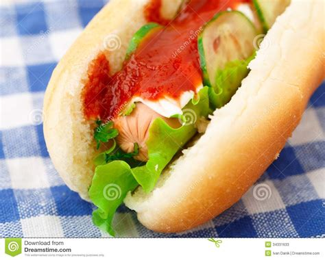 dogs and cucumbers with ketchup and cucumbers stock photos image 34331633