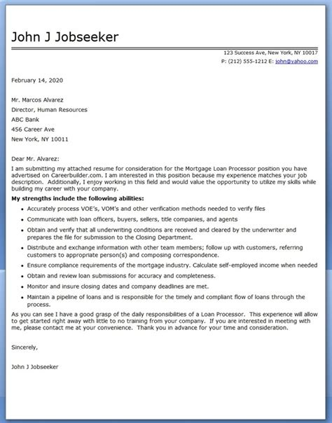 Mortgage Processor Cover Letter by Sle Cover Letter Mortgage Loan Processor Resume Downloads