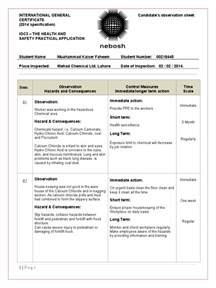 Site Observation Report Template Nebosh Igc 3 Observation Sheet 00218445 Final Personal