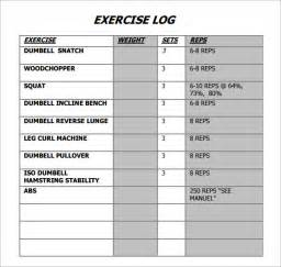 exercise log template 7 free pdf doc download