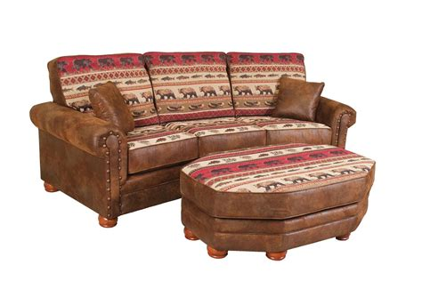 log sofas upholstered sofa with rustic fabrics rustic furniture