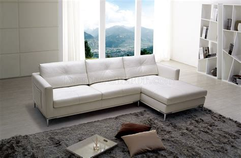 slim sectional sofas slim sectional sofa by beverly hills in white full leather