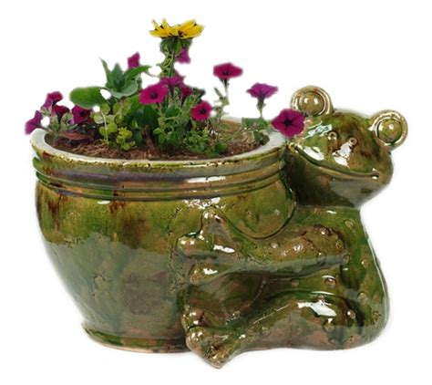 Frog Planters by Large Ceramic Hugging Frog Planter