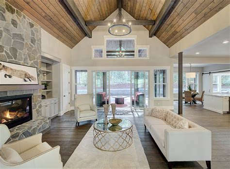 traditional lake house plan  vaulted game room  den
