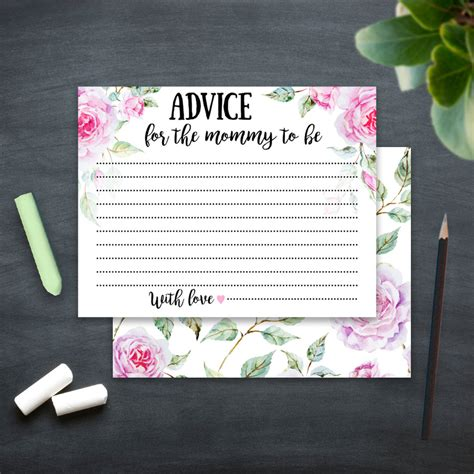 Advice Cards Baby Shower Template by Baby Shower Advice Cards Printable Template Advice For The