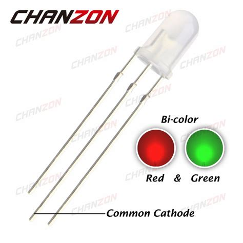 cathode of a diode 100pcs 5mm common cathode led diode green and diffused bicolor led 5 mm light emitting diode