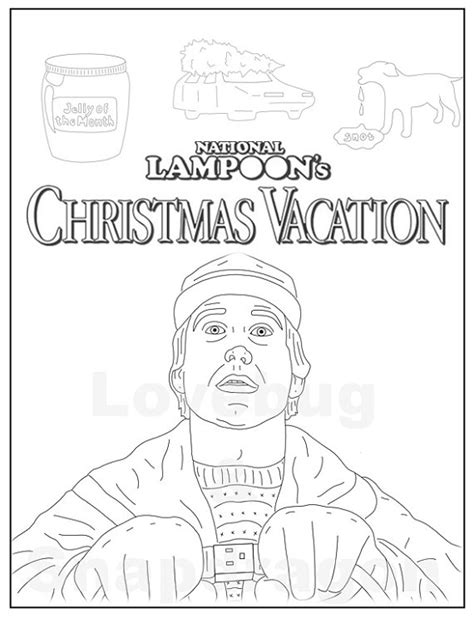 Christmas Vacation Coloring Page | national loon s christmas vacation adult coloring book