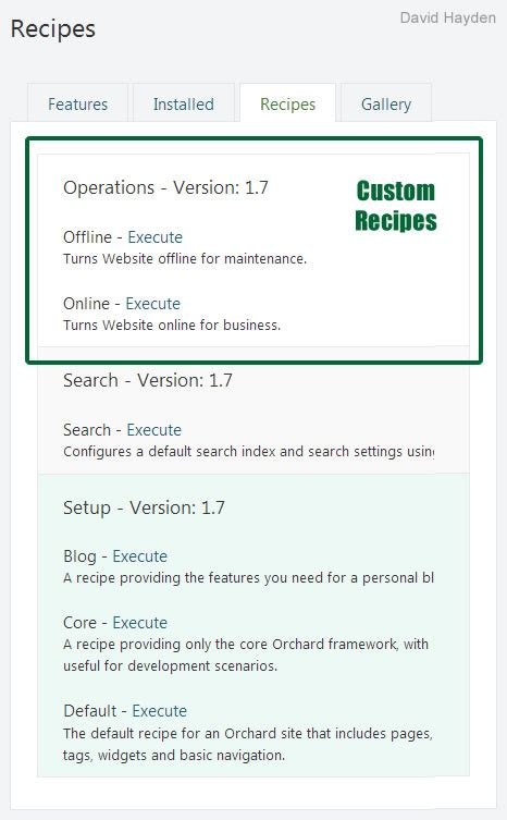 orchard cms custom form with section headers the run orchard recipes from orchard dashboard in orchard cms 1 7