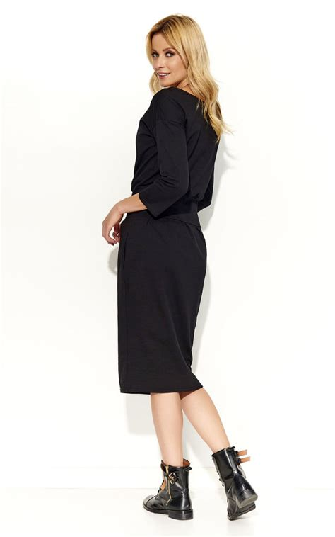boat neck dress with 3 4 sleeves black boat neck 3 4 sleeve bubble dress silkfred