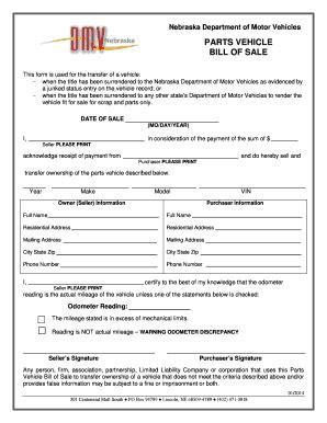 boat bill of sale nebraska 2014 2018 form ne parts vehicle bill of sale fill online