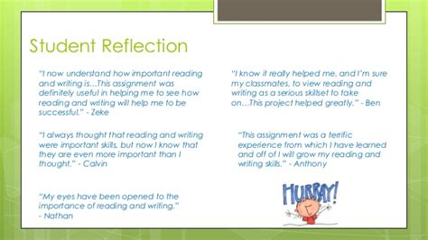 reflection books reading and writing models