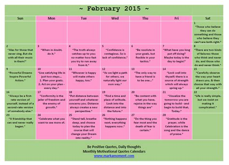 Printable Quotes Calendar 2015 | 5 best images of free printable inspirational calendars