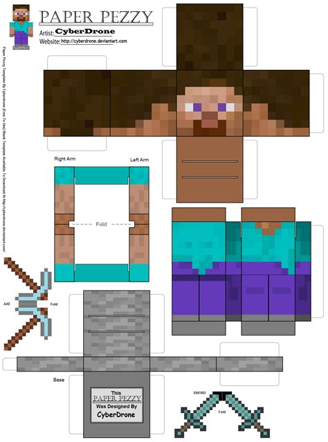 Steve Papercraft - minecraft paper craft new calendar template site