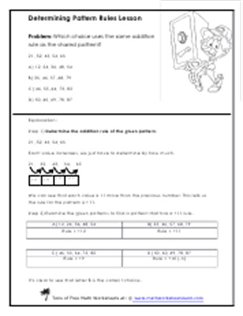 determining pattern rule creating and breaking down math patterns worksheets