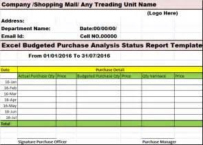 Budget Variance Report Template excel budgeted purchase analysis status report template