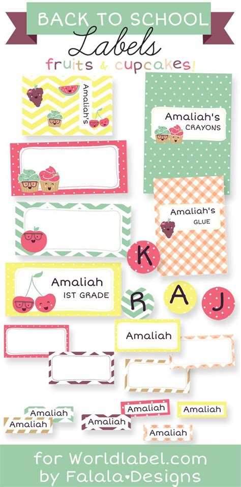 1000 Images About Kids School Labels Printables And Templates On Pinterest Personalized School Book Labels Template