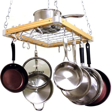 cooks standard ceiling mounted wooden pot rack nc 00268