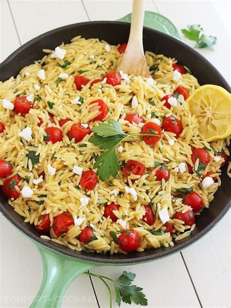 the comfort of cooking one pan greek orzo with tomatoes and feta