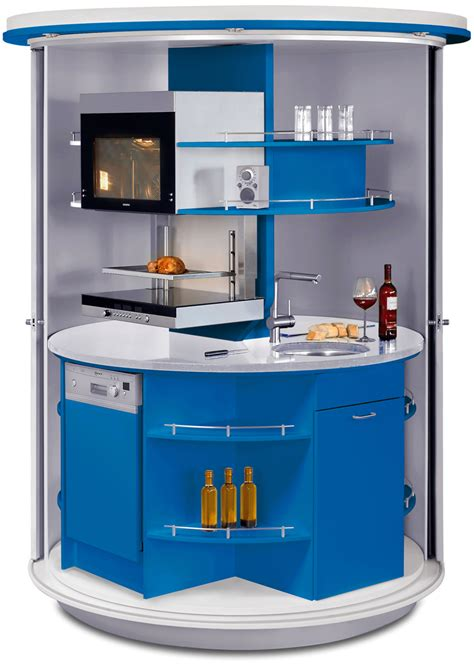 white and blue kitchen unit with small sink and