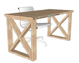 How To Build An Office Desk Free Plans To Build This X Leg Desk From Sawdust Diy To Follow