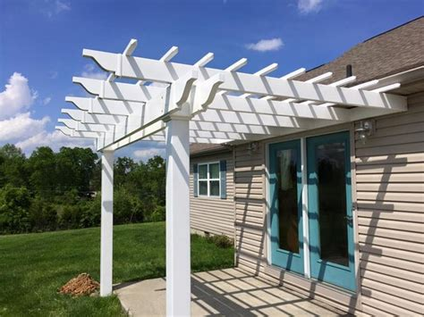White Classic Attached Vinyl Pergola Kit 12 Wide X 10 Attached Vinyl Pergola Kits