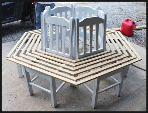 how to build a bench around a tree trunk creative ideas how to build a bench around a tree using old kitchen chairs