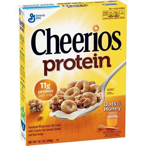 protein cereal cheerios protein oats honey cereal 14 1 oz walmart