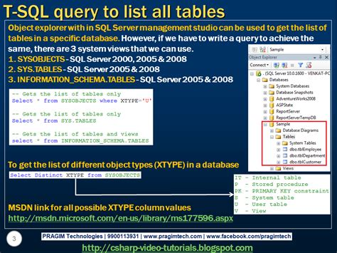 sql server list tables sql server net and c video tutorial part 65 list all