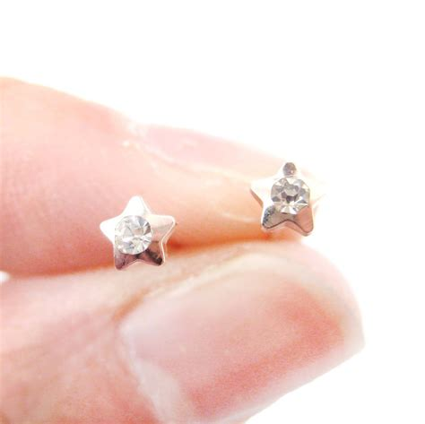 super small super small star shaped rhinestone stud earrings in rose