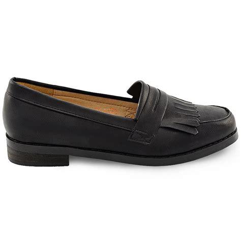 flat office shoes womens black loafers fringe flat office work school