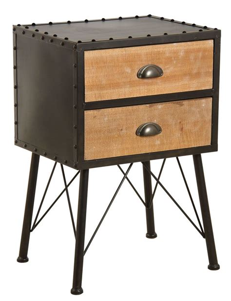 table de nuit metal table de nuit 2 tiroirs en m 233 tal et bois