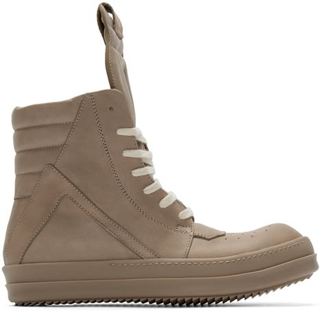 beige sneakers for rick owens beige geobasket high top sneakers in brown for