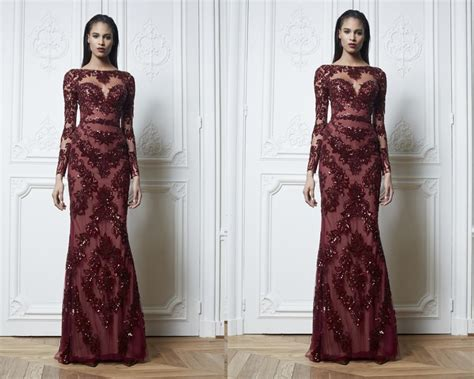 wine colored evening gown zuhair muard mermaid 2015 formal wine colored