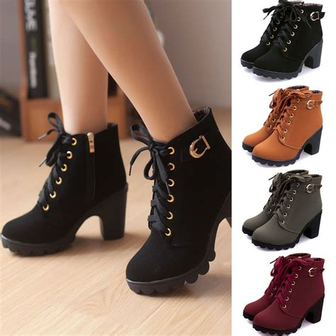 high heels lace up boots womens high heel lace up ankle boots zipper buckle