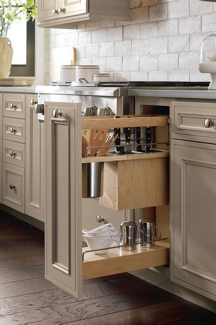 kitchen pull out cabinets base utensil pantry pull out cabinet with knife block