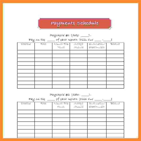 payment schedule template excel excel bill payment schedule template sle chore