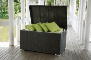 Patio Furniture With Storage Manhattan Wicker Cushion Storage Box Modern Patio